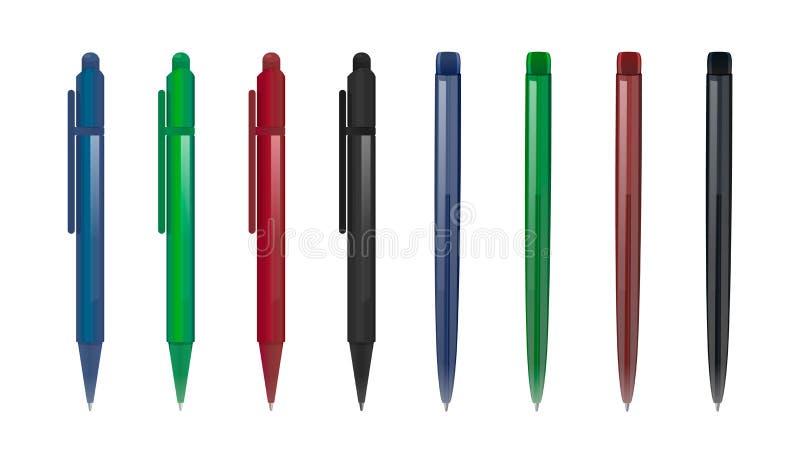 Fije de dos tipos de plumas en diversos colores stock de ilustración