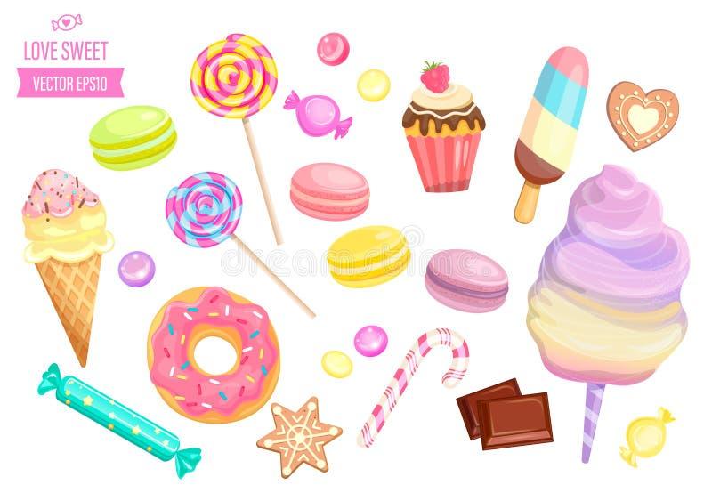 Fije de dulces aislados en el fondo blanco stock de ilustración