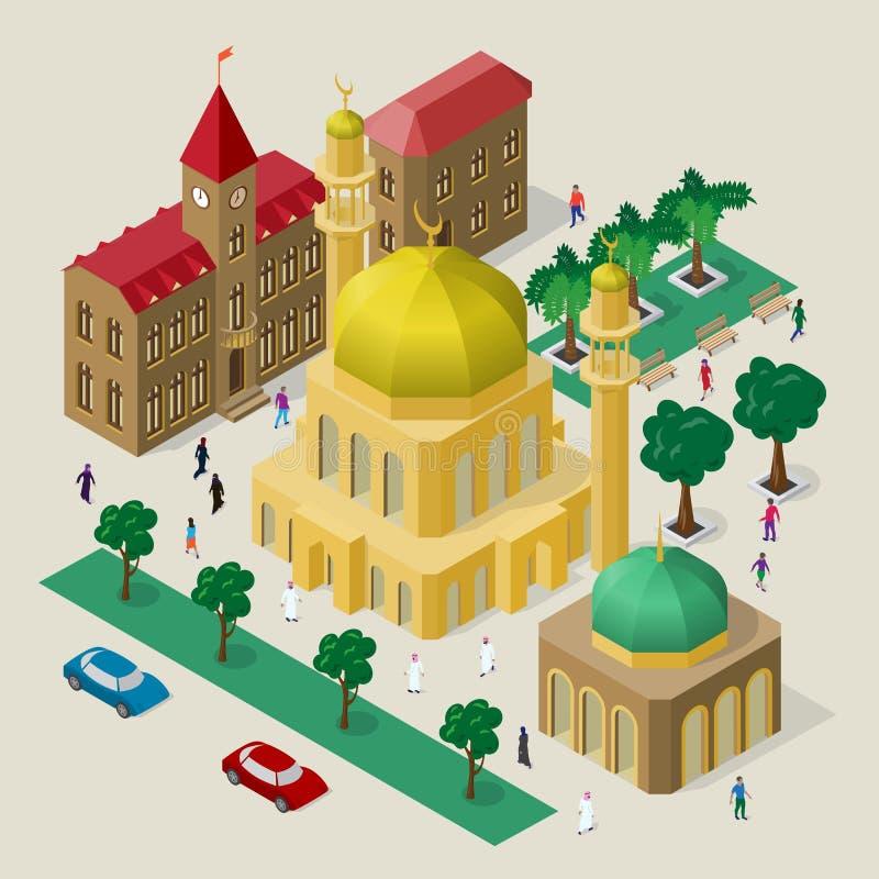 Fije de edificios, de mezquita, de alminares, de bancos, de árboles, de coches y de gente isométricos Paisaje urbano del vector stock de ilustración