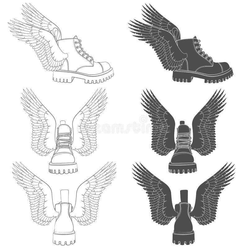 Fije de ejemplos blancos y negros de botas con las alas Objetos aislados del vector libre illustration