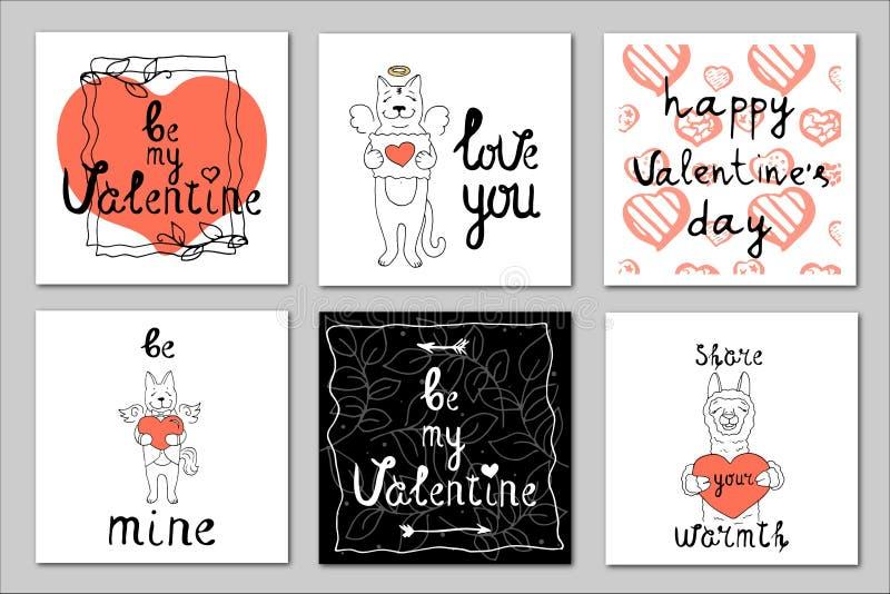 Fije de 6 ejemplos del vector en el tema del día de tarjeta del día de San Valentín stock de ilustración
