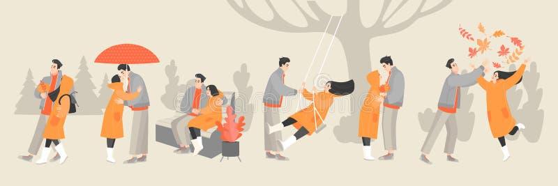 Fije de ejemplos del vector de un par feliz joven que disfruta de un día del otoño libre illustration