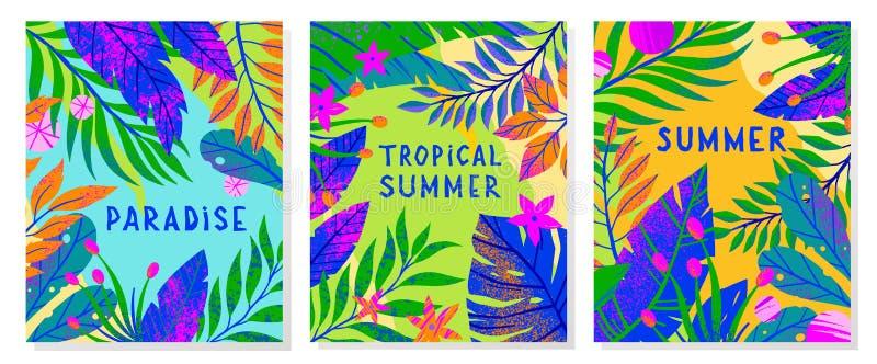 Fije de ejemplos del vector del verano con las hojas, las flores y los elementos tropicales fotografía de archivo libre de regalías