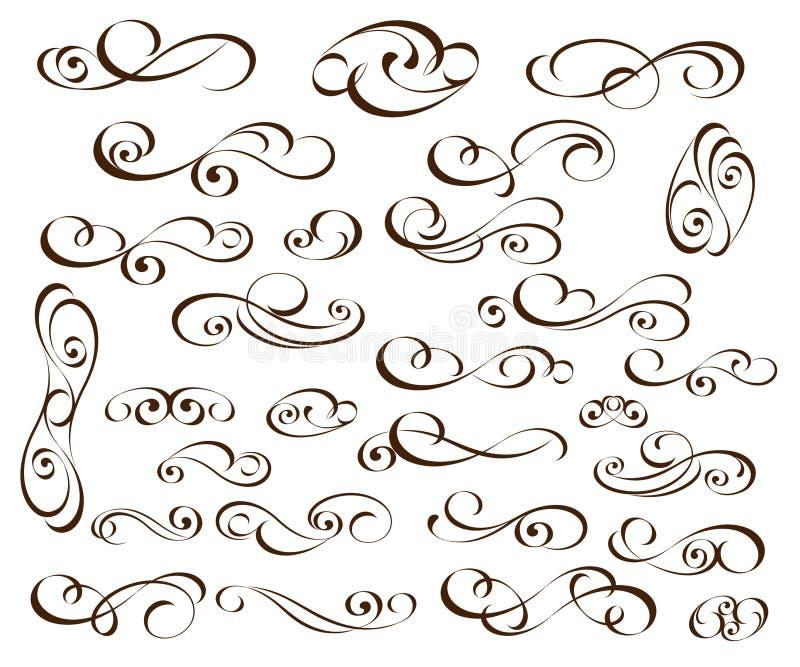 Fije de elementos decorativos elegantes de la voluta Ilustraci?n del vector negro ilustración del vector