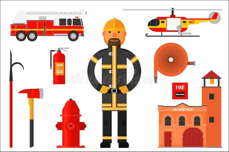 Fije de elementos del bombero Bombero en el uniforme, helicóptero, coche de bomberos, extintor, hacha, gancho, manguera, cuerpo d ilustración del vector