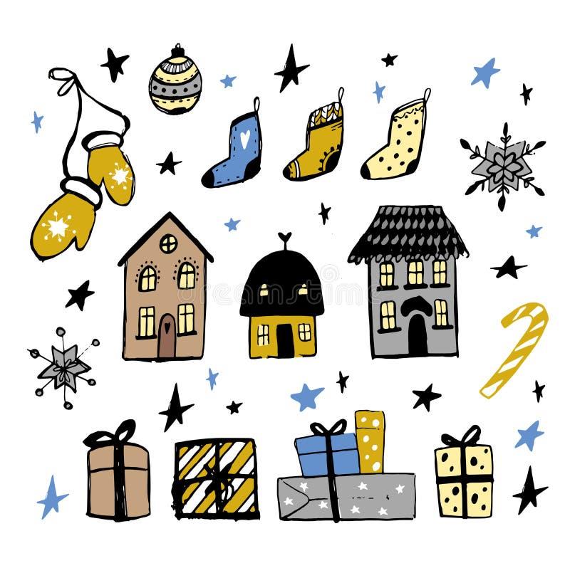 Fije de elementos del garabato del diseño de la Navidad Mano del vector dibujada Objetos aislados Guantes, casas, copos de nieve, libre illustration