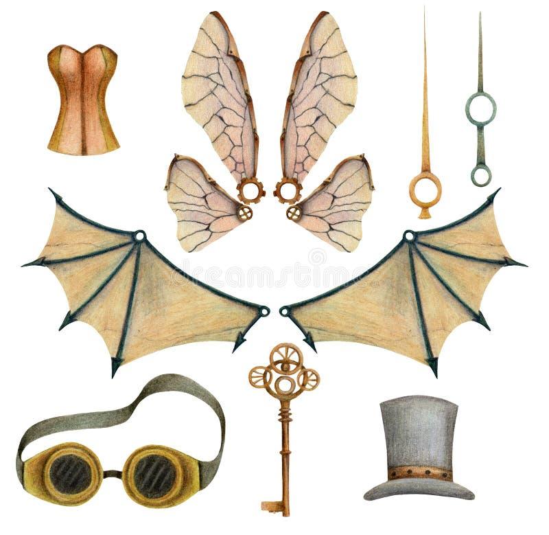 Fije de elementos del steampunk con los balones de aire, alas, llaves, vidrios, corsé, mano de hora, sombrero fotografía de archivo libre de regalías