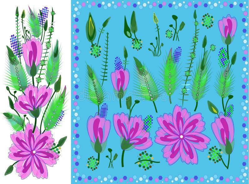 Fije de elementos florales con Violet Daisy Type Flowers, las hojas y los brotes Flora botánica exhausta del vector para la decor libre illustration