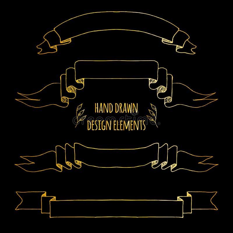 Fije de elementos handdrawn del vintage Cintas, flechas, guirnalda del laurel, deviders de la p?gina Mano dibujada bosquejada, ve stock de ilustración