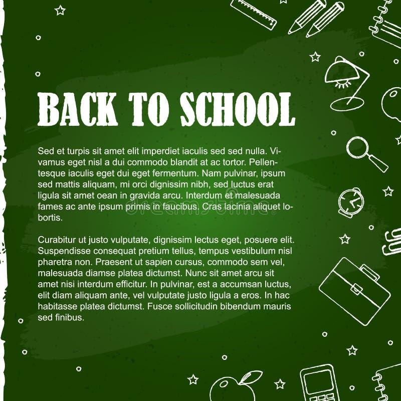 Fije de elementos de la escuela en la pizarra verde ilustración del vector