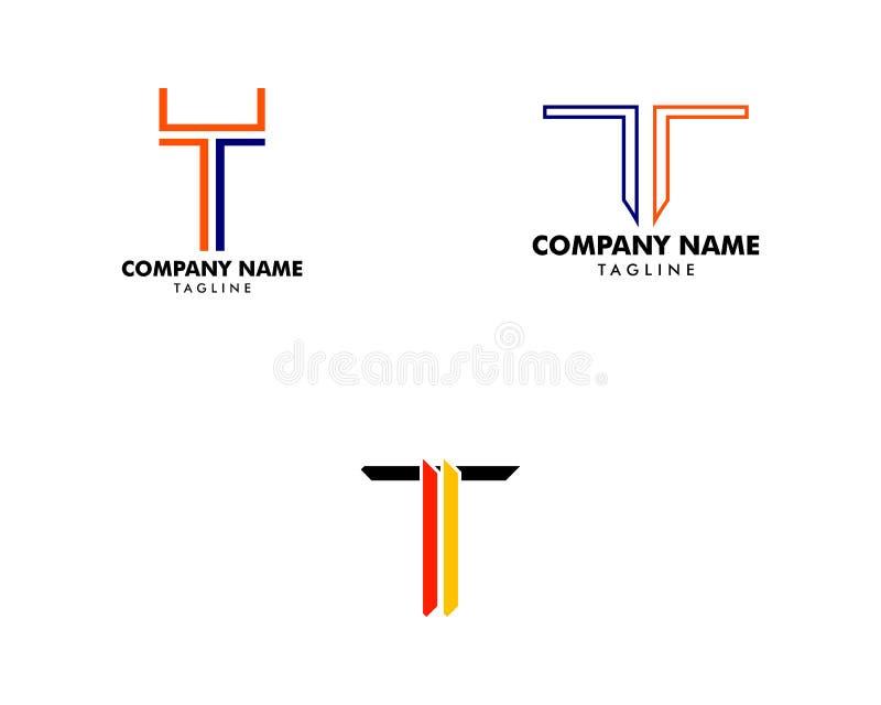Fije de elementos de la plantilla del diseño del icono del logotipo de la letra T libre illustration