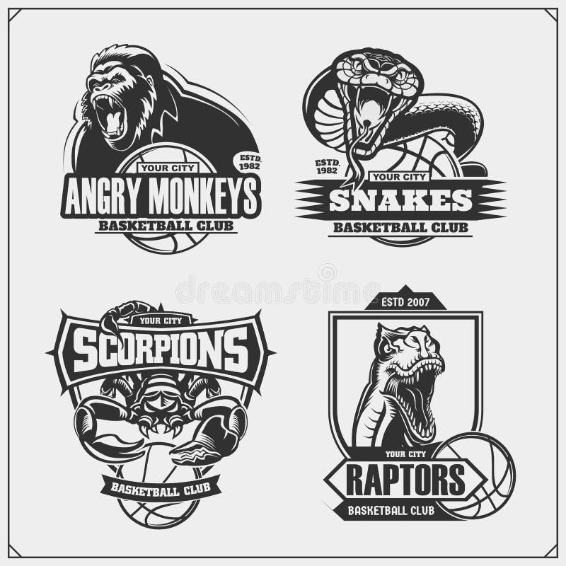 Fije de emblemas, de insignias, de logotipos y de etiquetas del baloncesto con el león, la cobra, el dinosaurio del rapaz y el es stock de ilustración