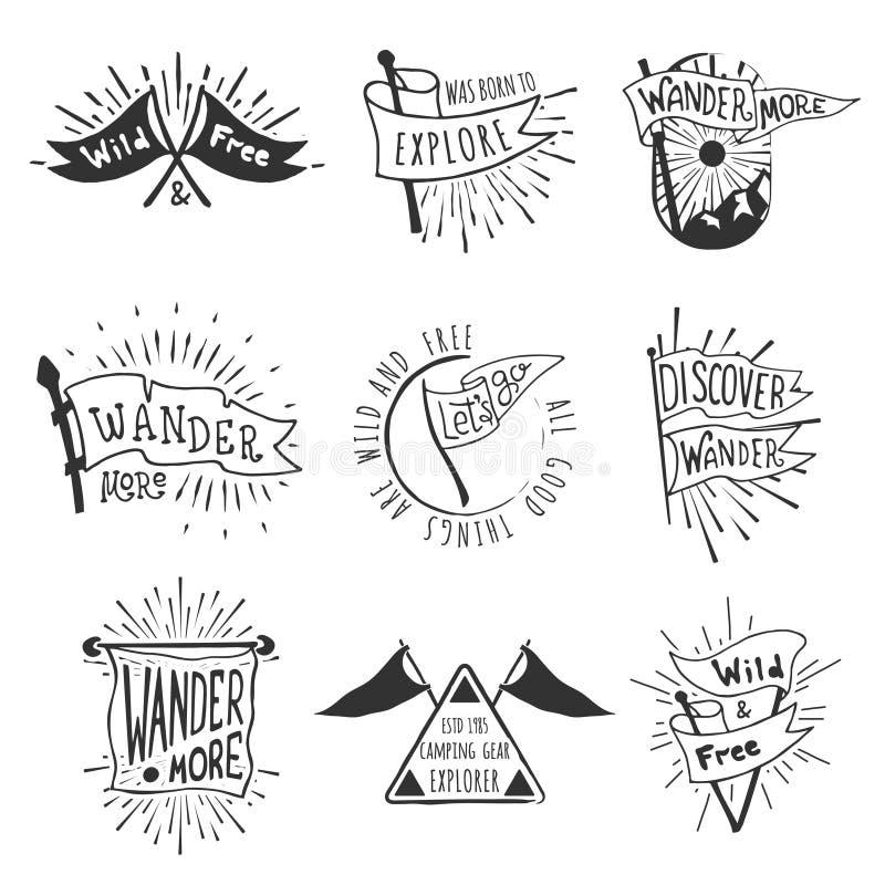 Fije de emblemas de la bandera de la aventura y del aire libre Etiquetas monocromáticas retras con los rayos ligeros Estilo dibuj stock de ilustración