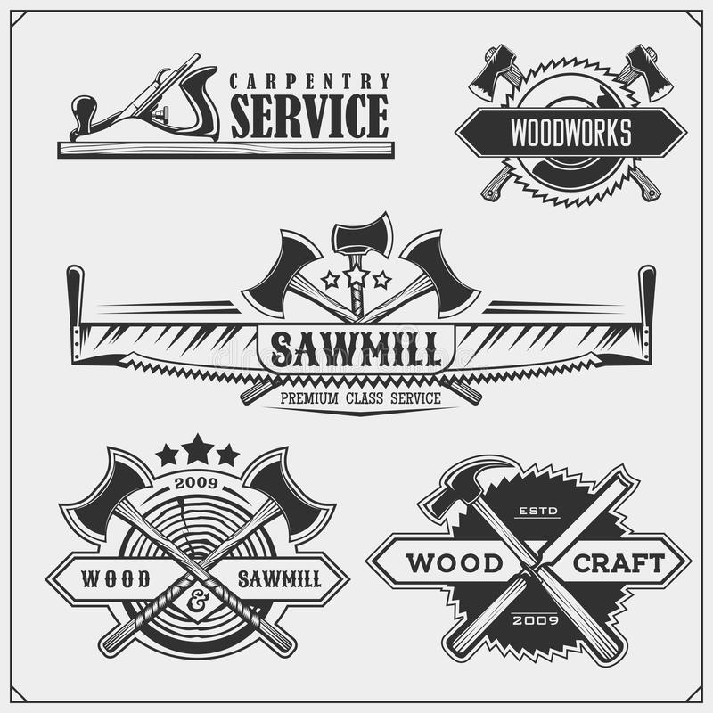 Fije de emblemas de la carpintería del vintage Etiquetas de la artesanía en madera, insignias, logotipos y elementos del diseño E ilustración del vector