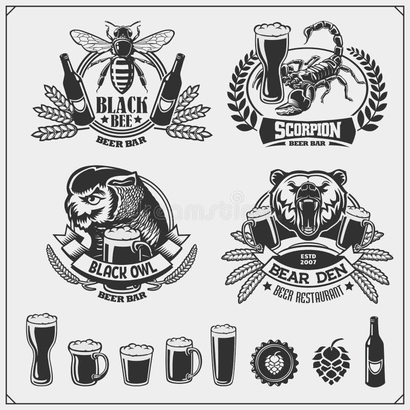 Fije de emblemas de la cerveza, de etiquetas, de etiquetas engomadas y de elementos del diseño ilustración del vector