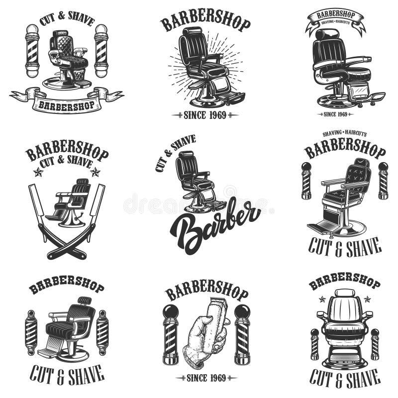 Fije de emblemas de la peluquería de caballeros del vintage con la silla de peluquero, las insignias y los elementos del diseño p stock de ilustración