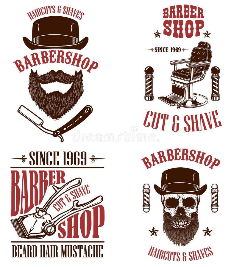 Fije de emblemas de la peluquería de caballeros del vintage, de insignias y de elementos del diseño para el logotipo, etiqueta, m libre illustration