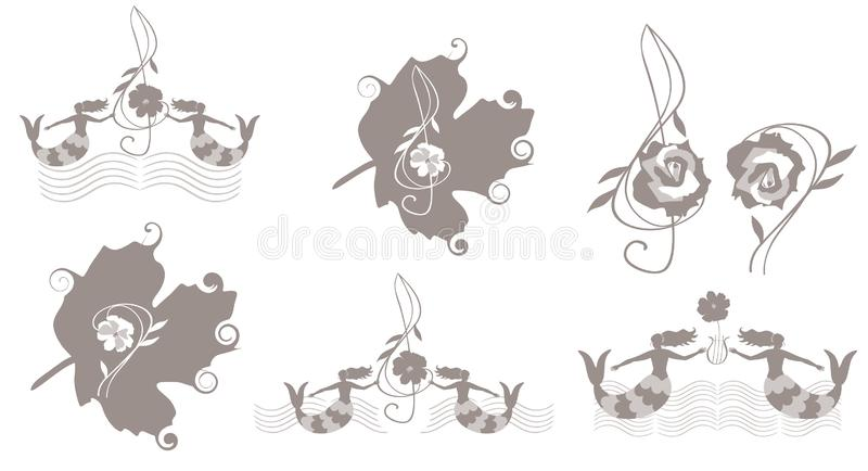Fije de emblemas lindos de la música con el bajo y las claves de sol y de reglas musicales en la forma de ondas, de sirenas y de  ilustración del vector