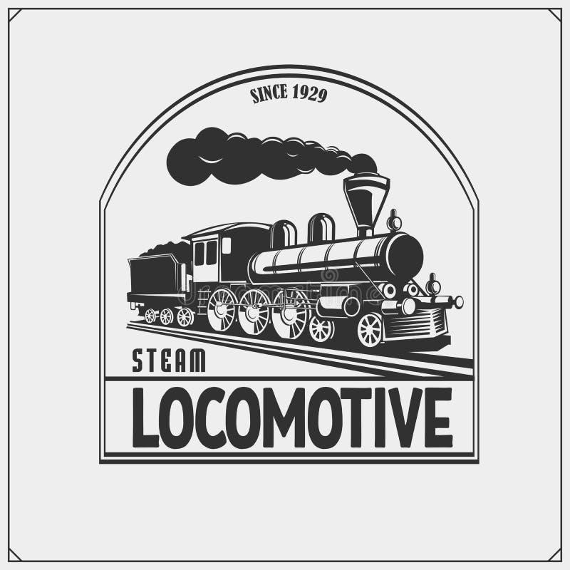 Fije de emblemas de los trenes, de etiquetas, de insignias y de elementos retros del diseño Diseño de la impresión para las camis libre illustration