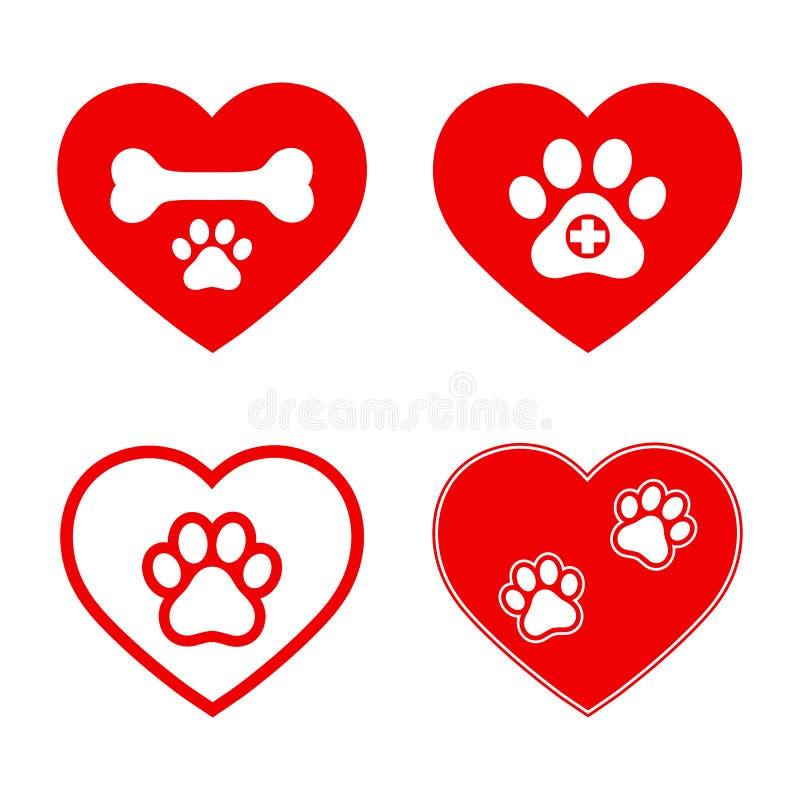 Fije de emblemas veterinarios en corazón rojo en el fondo blanco stock de ilustración
