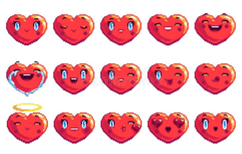 Fije de emoji en forma de corazón del arte del pixel de 15 emociones positivas en color rojo ilustración del vector