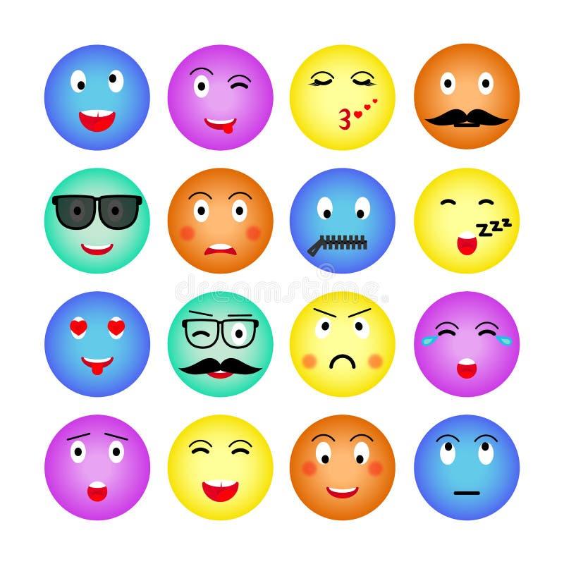 Fije de emojis redondos coloridos Aislado en el fondo blanco Emoticon para el sitio web, charla, SMS Ilustración del vector Vecto stock de ilustración