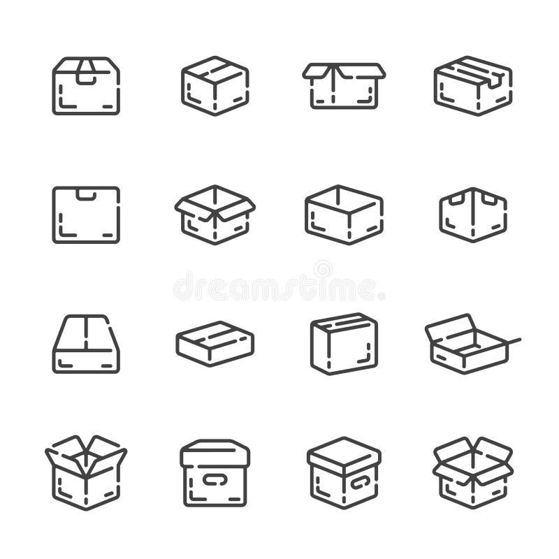 Fije de entrega, envíe los iconos del esquema de la caja o del paquete Ilustraci?n del vector imagen de archivo