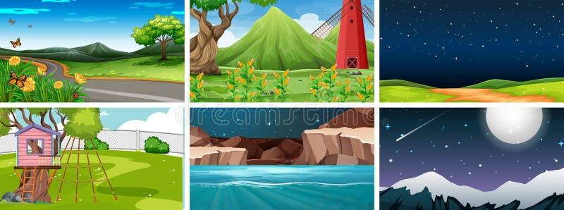 Fije de 6 escenas de la naturaleza en parques día y noche stock de ilustración
