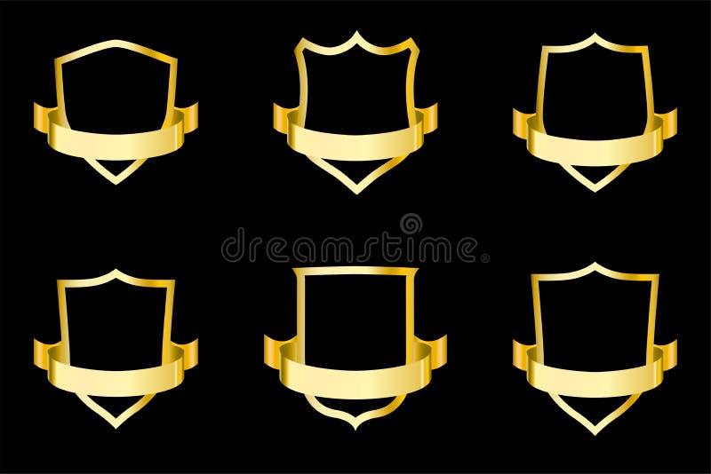 Fije de escudos de oro con la cinta Ilustración del vector para el diseño ilustración del vector