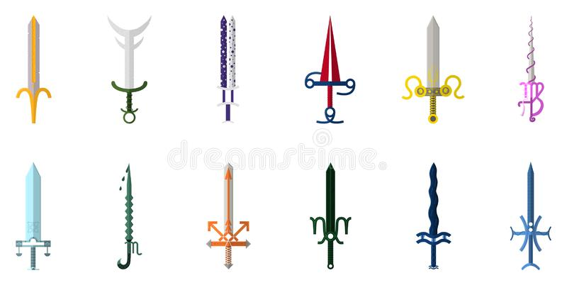 Fije de 12 espadas del zodiaco aisladas en el fondo blanco Colecci?n zodiacal del arma Muestra del zodiaco Arma zodiacal de la hi stock de ilustración
