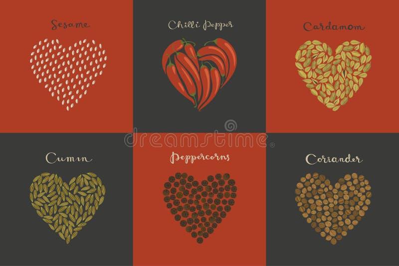 Fije de especias en la forma del corazón Sésamo, comino, cardamomo, chile, granos de pimienta, coriandro stock de ilustración