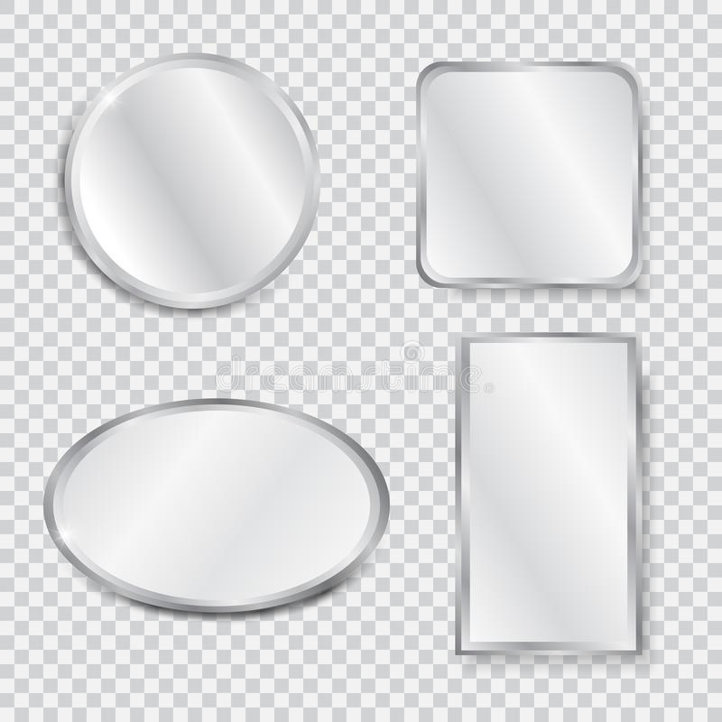 Fije de espejos geométricos realistas stock de ilustración