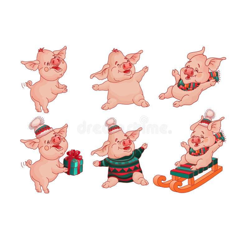 Fije de estilo aislado de la historieta de los cerdos Vector stock de ilustración