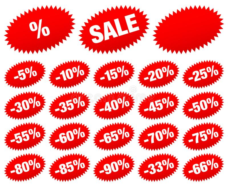 Fije de etiqueta engomada roja de la venta menos las estrellas ovales stock de ilustración
