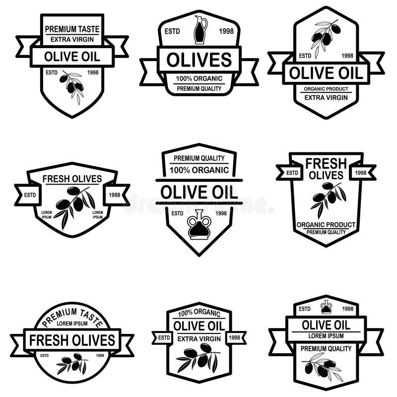 Fije de etiquetas del aceite de oliva del vintage Elemento del diseño para el logotipo, etiqueta, muestra, insignia, cartel ilustración del vector