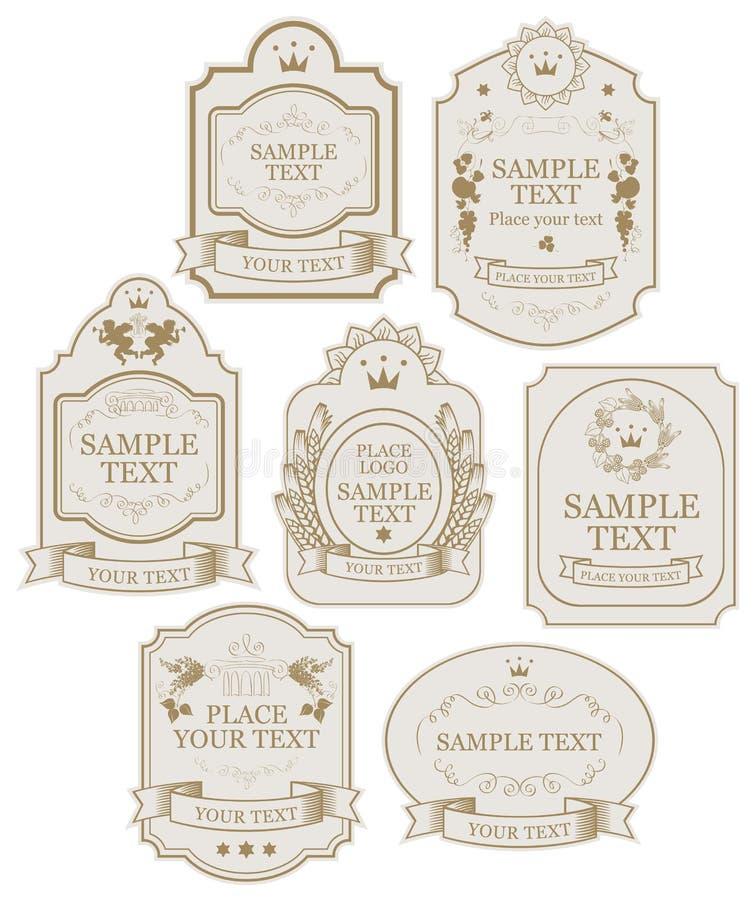 Fije de etiquetas del vector en beige y colores oro stock de ilustración