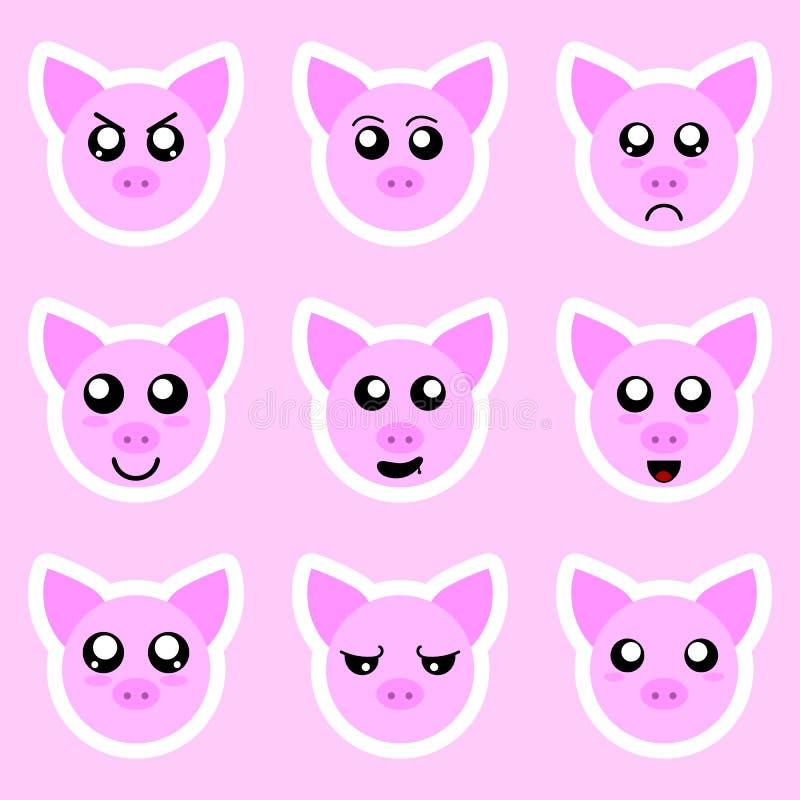 Fije de etiquetas engomadas del cerdo Diversas emociones, expresiones Etiqueta engomada en estilo del animado Ilustración del vec ilustración del vector