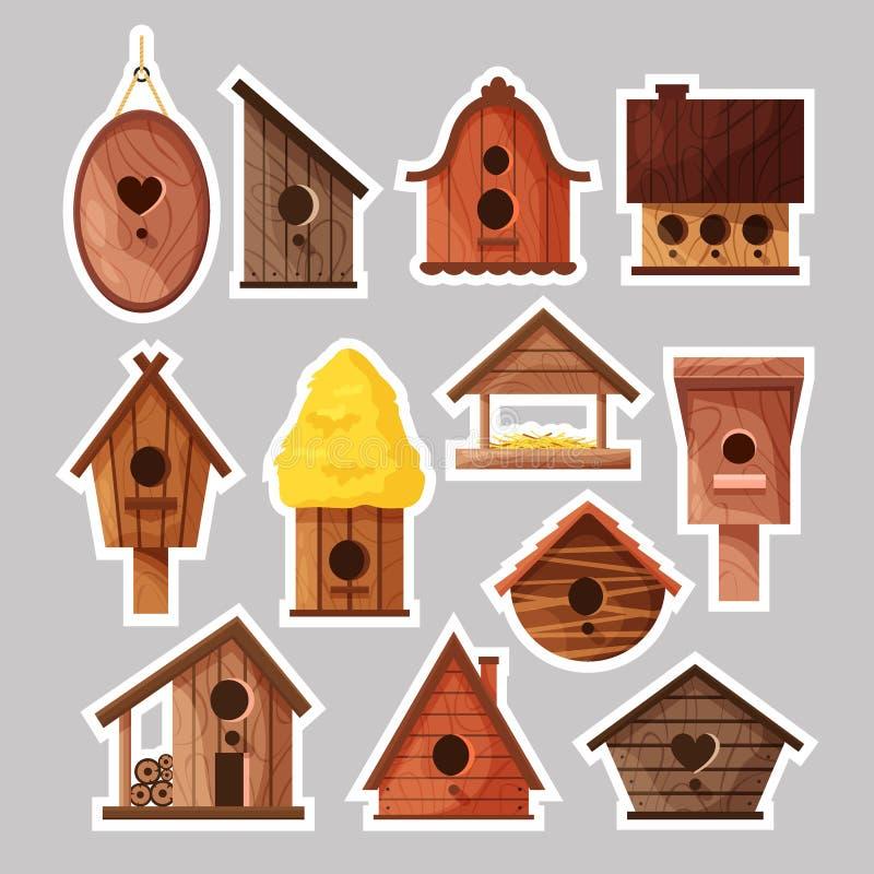 Fije de etiquetas engomadas de los birdboxes Diversas casas hechas a mano de madera del pájaro, nidal hechos en casa de la histor stock de ilustración