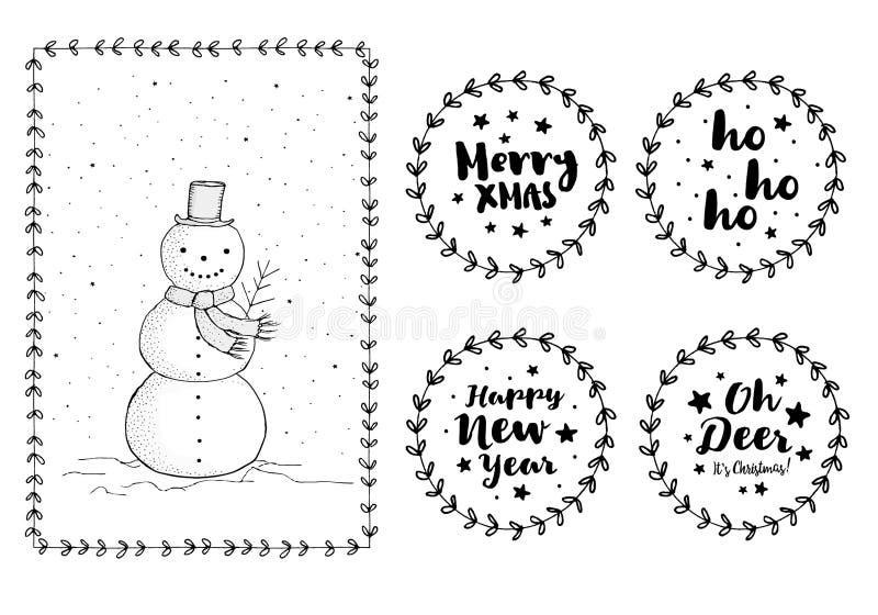 Fije de etiquetas engomadas y de tarjeta exhaustas de la Navidad de la mano linda Fije de etiquetas engomadas y de tarjeta exhaus ilustración del vector