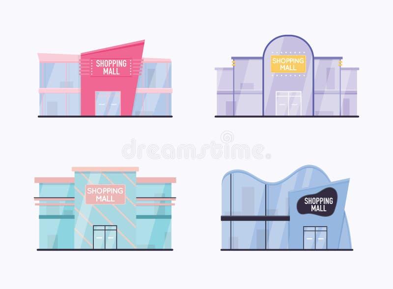 Fije de exterior del edificio del centro comercial Concepto moderno del ejemplo del vector del estilo plano del diseño stock de ilustración