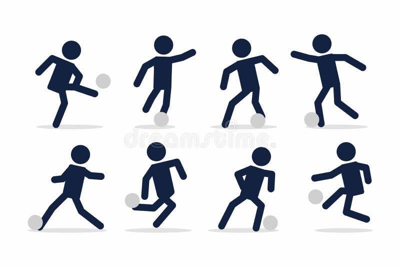 Fije de fútbol o el jugador de fútbol, acciones del futbolista plantea la figura del palillo stock de ilustración