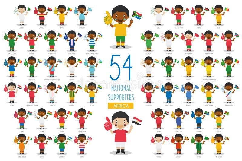 Fije de 54 fans nacionales del equipo de deporte del ejemplo del vector de los países africanos ilustración del vector