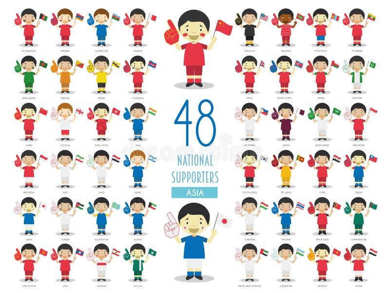 Fije de 48 fans nacionales del equipo de deporte del ejemplo del vector de los países asiáticos ilustración del vector