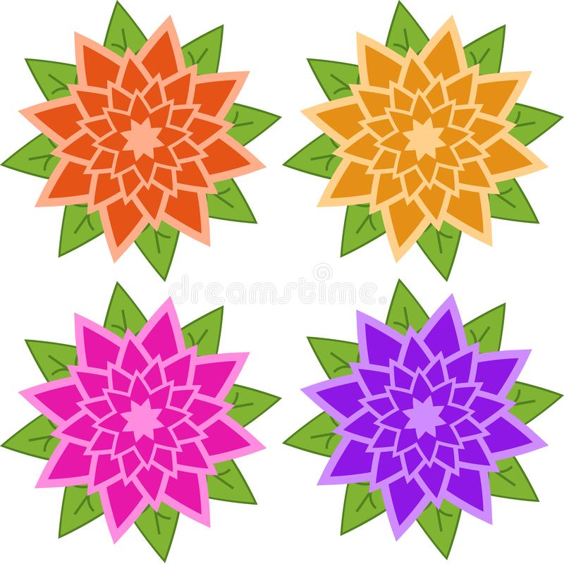 Fije de flores rojas, anaranjadas, rosadas, púrpuras en un fondo blanco libre illustration