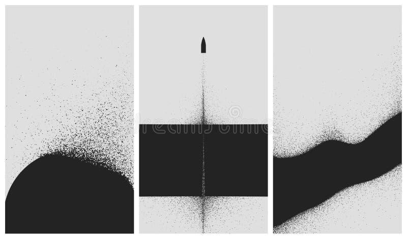 Fije de fondos blancos y negros con la explosión de polvo y la rociadura de la partícula ilustración del vector
