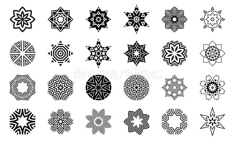 Fije de formas de centro simétricas geométricas abstractas Elementos del diseño, ornamentos Ejemplo del monocromo del vector stock de ilustración