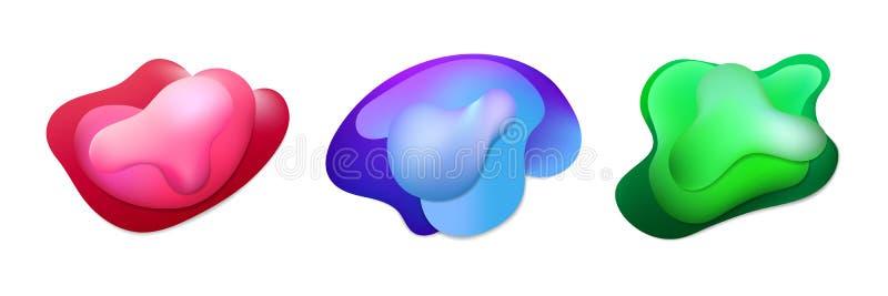 Fije de formas geométricas líquidas del extracto 3d del color Ejemplo en colores brillantes de moda de la pendiente con el líquid ilustración del vector