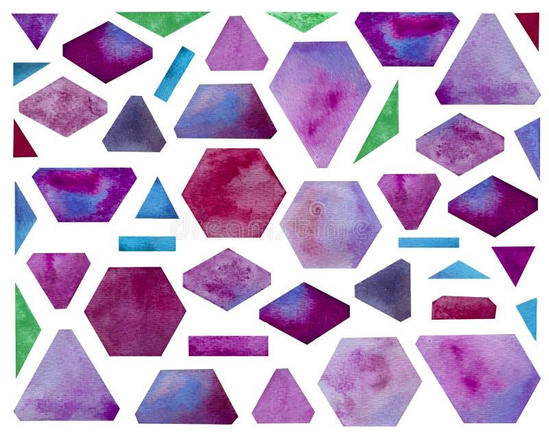 Fije de formas geométricas de la acuarela Sombras púrpuras brillantes libre illustration