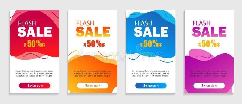 Fije de formas líquidas abstractas en fondo aislado El diseño de la venta cubre para la página web, la venta al por menor o el ne stock de ilustración