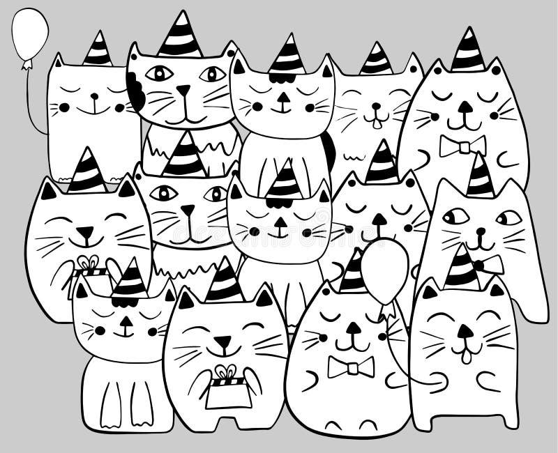 Fije de gatos estilizados divertidos Celebraci?n del cumplea?os P?gina que colorea Ejemplo dibujado mano del vector del garabato libre illustration